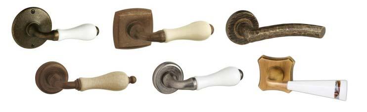 Manillas r sticas porcelana para interior puertas calvo - Manillas para puertas de madera ...