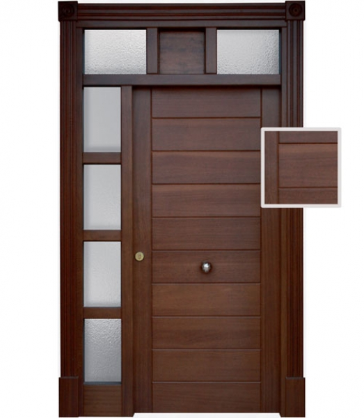 Puerta de exterior modelo e 1 puertas calvo for Puertas principales rusticas madera