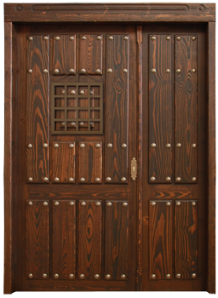 Puerta rustica exterior de hoja y media puertas calvo for Puerta de madera exterior usada