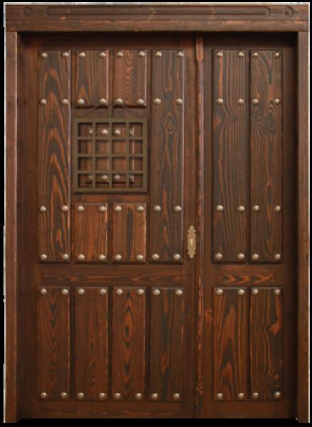 Puerta rustica exterior de hoja y media puertas calvo for Puertas rusticas de madera interior