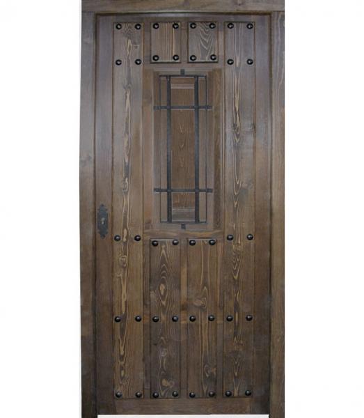 Puerta r stica de tablas reja grande modelo r 9 puertas for Puertas madera rusticas interior